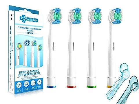 SoniWhite® 4 Pack Remplacement Têtes de rechange génériques brossettes pour la Braun Oral-B Flexisoft , Brush Heads compatible avec Oral-B Noir, Sweep Deep Smart Series, ProSeries, Triumph, Advance Power, Professional Care
