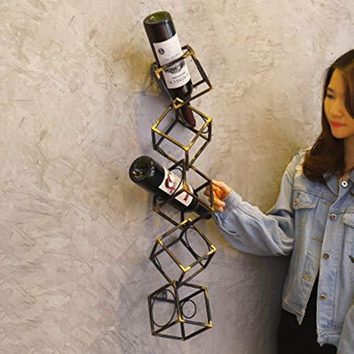 YQQ Geometrische hängende Weinflaschenhalter Antik Bronze Farbe Metall Wand Weinregal