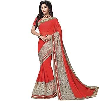 Vasu Saree Georgette Saree With Blouse Piece (Amaira-4204_Orange_Free Size)