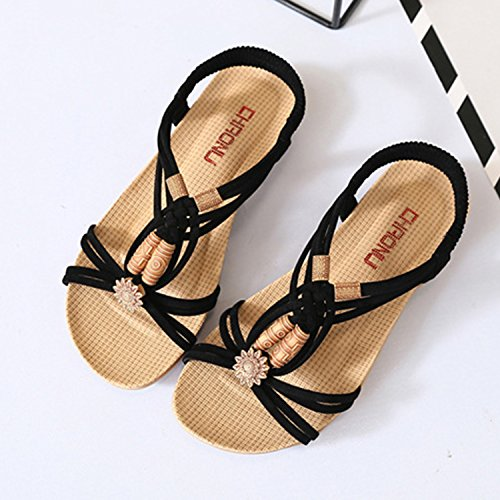 Casual Flat Sandals Toe Black Open Women's Bohemian Oasap S6qzUO