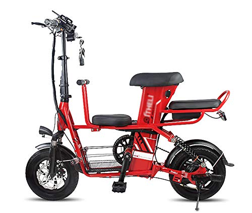 Bicicleta Electrica Fat Bike Plegable Montaña Paseo E-Bike Adulto Triciclo,Red