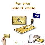 1neiSmartech Pen Drive Modello Credit Card Carta Di Credito America Express Chiavetta Penna Usb 2.0 (8Gb)