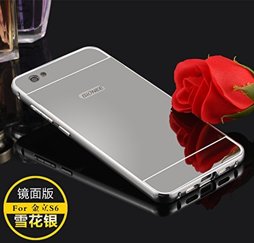 Higar Gionee s6 aluminum metal bumper case ultra thin mirror case for Gionee Elife S6 (5.5 inch)- Silver