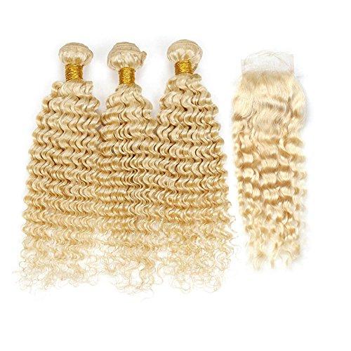 Mila 613# biondi capelli umani ricci matassa tessitura 3pc 100% remy hair weave extensions con lace closure/chiusure (24