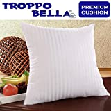 Troppo Bella - Set of 3 Premium Bed & Sofa Cushions - With Luxury White Stripe Cover - 16 x 16 Inches - Super Soft Microfiber / Poly Cotton - Elegant Design - Fluffy and Comfortable