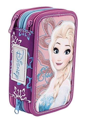 Frozen Astuccio Triplo Superstar con Colori, Pennarelli ed Accessori Scuola, Poliestere, Rosa, 20 cm