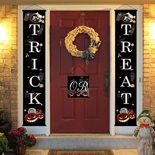 ny Trick or Treat Halloween Banner Tür-Halloween Aufhängen Zeichen für Outdoor Home Office Veranda vor Halloween Dekorationen zu Welcome ()