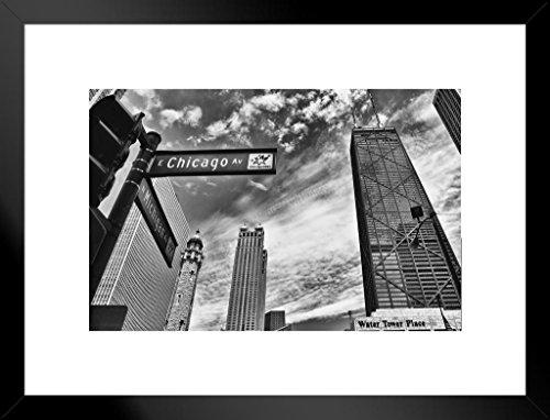 Poster Gießerei Chicago Michigan Avenue Street Sign Chicago Illinois Schwarz und Weiß Foto Kunstdruck von proframes 26x20 inches Matted Framed Poster