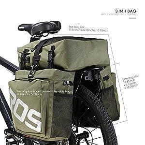 Roswheel 37L 3 en 1 Bolsa Sillín Alforjas Tija Sillín de Ciclismo Impermeable para Bici de Diseñada Cesta Alforjas para el Portaequipajes Trasero de la Bicicleta Montaña y de Carretera Asiento Paquete (Ejército Verde)