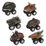 Womdee Tire atrás Dinosaurio, 6 Piezas Dino Coches Juguetes con Rueda de neumático Grande para 3-14 año Viejo niños niñas Regalos creativos para niños