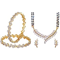 Youbella Gold-Plated Combo Of Mangalsutra & Bangle Set For Women