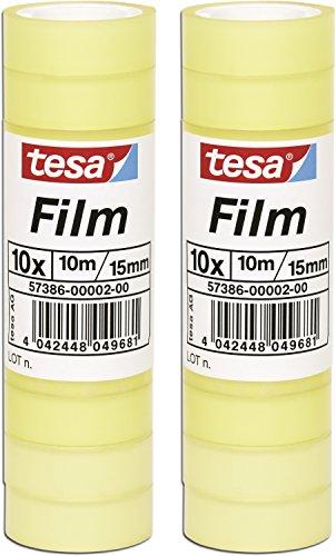 tesafilm Klebeband, Standard, 10m x 15mm (2 Packungen = 20 Rollen)
