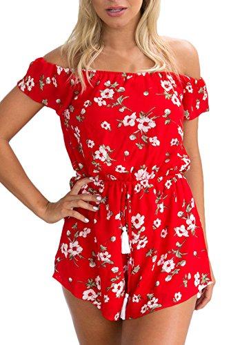Saoye Fashion Jumpsuit Damen Sommer Urlaub Beach Weg Von Der Schulter Trägerlos Blumen Elegant Kurz Overall Mode Locker Casual Kordelzug Onesie