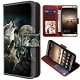 Wolf Moon Leather Flip Phone Case,PU Wallet Cover With