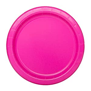 Unique Party Paquete de 20 platos de papel Color rosa neón 18 cm 99134