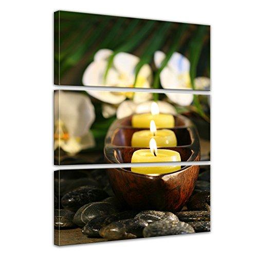 Original Chi-maschine (Kunstdruck - Wellness Kerzen - Bild auf Leinwand 60 x 90 cm 3tlg - Leinwandbilder - Bilder als Leinwanddruck - Wandbild von Bilderdepot24 - Geist & Seele - Buddhismus - Zen Steine mit Kerzen)