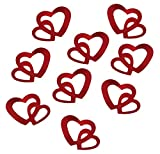 100 Stk Deko Doppel Herzen - silber, rot oder gold (Rot)