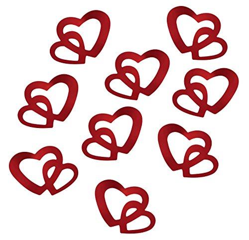 floristikvergleich.de 100 Stk Deko Doppel Herzen – silber, rot oder gold (Rot)