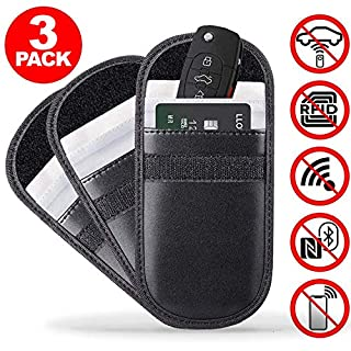 ACENTIX 3 x RFID Signal Blocking Entry Car Key Fob Faraday Pouches, Anti Theft Guaranteed | 100% PU Leather | Blocks RFID/WIFI/GSM/LTE/NFC | Maximum Protection Security Pouch