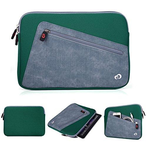 Kroo Tablet-Schutzhülle aus Neopren/Sleeve für Allview Viva H1001LTE. Vorne Reißverschluss Tasche für speicherbedarf grün Deep Green and Grey