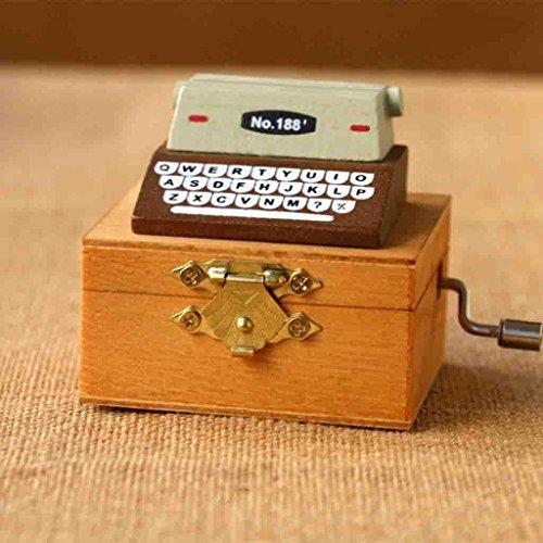 Schreibmaschine Spieluhr Retro Hand Holz Kreative Geschenk Himmel Stadt , A