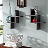 #7: SLK Wood Products Wooden Wall Shelf (Set of 2) - Walnut