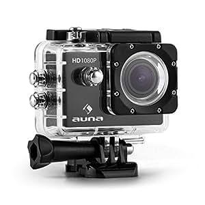 Auna ProExtrem - caméra d'action sports extermes Full HD 1080p 12 MP avec HDMI et port SDHC - set d'accessoires complet (batterie, boîtier étanche, objectif 170°)