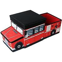 Preisvergleich für TE-Trend Textil Aufbewahrungsbox Hocker Spieltruhe Spielbox Faltbar und teilbares Feuerwehrauto mit Deckel Gepolstert