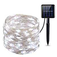 Criacr Solar Lights Outdoor, (100 LED 2 Modes) Solar Garden Lights, 33ft/10m Copper Wire Solar String Lights, Waterproof for Christmas, Tree, Garden, Home, Wedding, Pathway, Party (Blue) 9