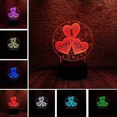Liebeserklärung Ich liebe dich 3D Luftballons Herzform LED Nachtlicht Romantische Lampe Beleuchtung HEIß Hochzeit Dekoration Liebhaber Paar Beichte Gericht Memorial Day Geschenke (Liebe Herz)