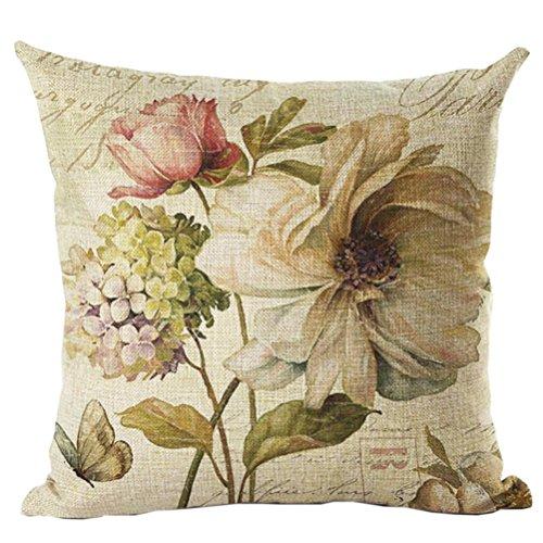 ruideng Vintage Flower Print Muster Baumwolle Leinen Kissenbezug Kissen Fall für Sofa, Bett, Stuhl, Betten 45,7x 45,7cm (Muster 19) (Animal Print Boppy-kissen)