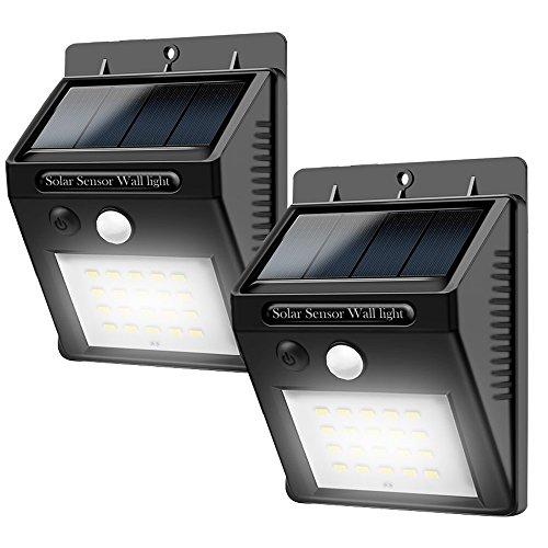 LED  Solarleuchten  mit  Bewegungsmelder,Adkwse Solarleuchte Außen,20 LEDs Solar Aussenleuchte 400 Lumen Solarlampe für Gärten,Türe,Flur,Wege,Terrassen(2-Stück)