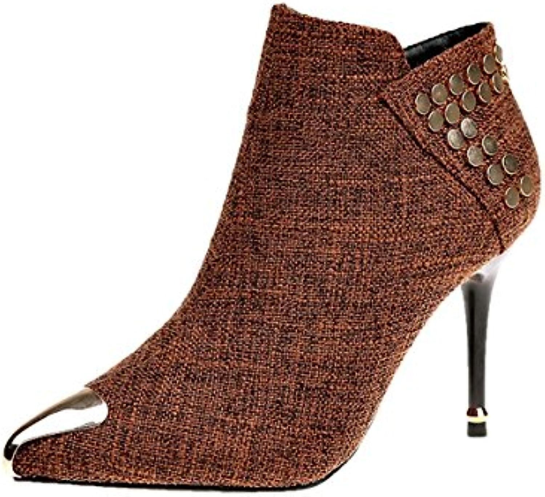 DIMAOL Damenschuhe PU Feder Fallen Comfort Basic Pumpe Heels Low Heel Schuhe für Kleid Party & Abend Schwarz Braun