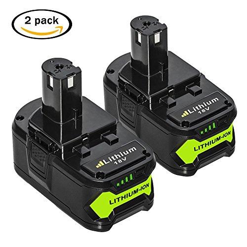 Nebatte P108 18V 5.0Ah Wekzeug Akku für Ryobi ONE+ P108 P107 P122 P104 P105 P102 P103 Li-ion Batterie Ersatzakku ( 2 Stück) (P105 Ryobi)