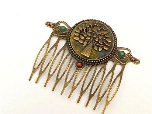 Haarkamm mit Baum Ornament in grün braun bronze