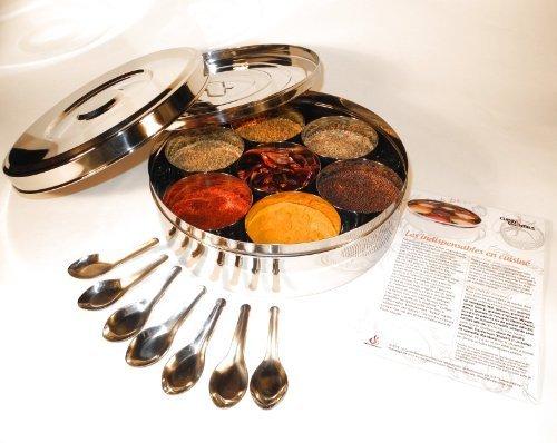 Autentico spezie indiane scatola con 24 centimetri doppio coperchio (large), 7 cucchiai di spezie e una guida gratuita spezie