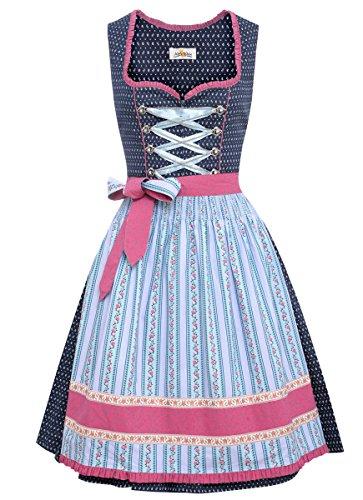 (Almsach Damen Trachten-Mode Midi Dirndl Sabine in Dunkelblau Traditionell, Größe:48, Farbe:Dunkelblau)