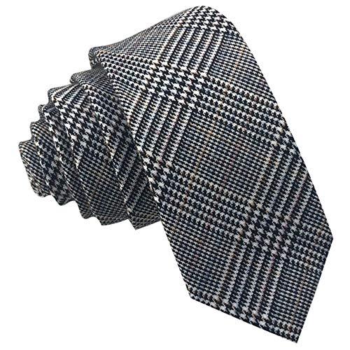 Schwarz Weiß Karo Check Flanell (GASSANI Tweed Woll-Krawatte Kariert, Schmale Dünne Flanell Herren-Krawatte Wolle Baumwolle Twill, Hell-Braune Ockerbraune Schwarze Weisse Karos Raute)