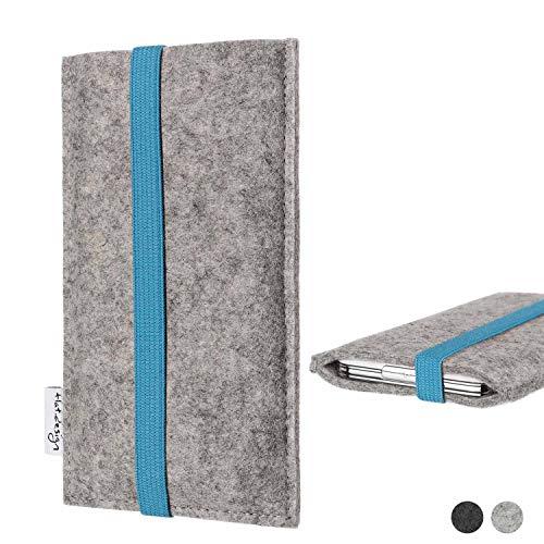 flat.design Handy Hülle Coimbra für Shift Shift6m - Schutz Case Tasche Filz Made in Germany hellgrau türkis