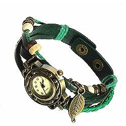 Armbanduhren Leder Modeschmuck Uhr Damen Thalie Grün Geschenk Damen
