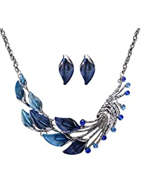AMNOR Women Fashion Stylish Peacock Leaf Crystal Rhinestone Earrings Jewelry Set Necklace