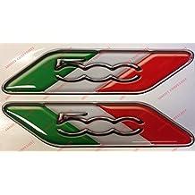Para de adhesivos con inscripción Fiat 500y bandera italiana.Adhesivos de resina, efecto 3d.Banderines triicolor para Fiat 500, 500Abarth, nuevo Fiat 500