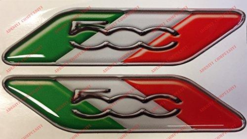 Logo Fiat 500Paire drapeau italie. Autocollants, Résine Effet 3d. Fanions tricolore pour 500, 500Abarth, nouvelle fiat 500
