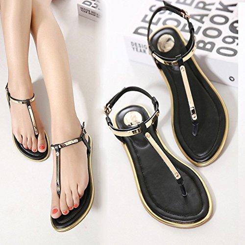 Minetom, sandali infradito da donna con tacco piatto e cinghia con fibbia Nero