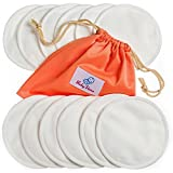 Nursing Pads 12 Pack | Organic Bamboo | Laundry & Travel Bag | Free Breastfeeding & Sleeping Guide | Washable & Reusable Breast Pads by BabyVoice (Medium, White)