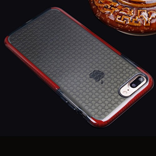 Für iPhone 7 Plus Dumbbell Texture Transparente TPU Schutzhülle DEXING ( Color : Black ) Red