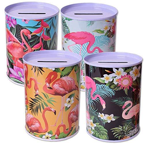TE-Trend 4er Set Spardose Sparbüchse Flamingo Sparschwein Kinder Tropical Sommer Kindergeburtstag Mitgebsel Mehrfarbig Sortiert