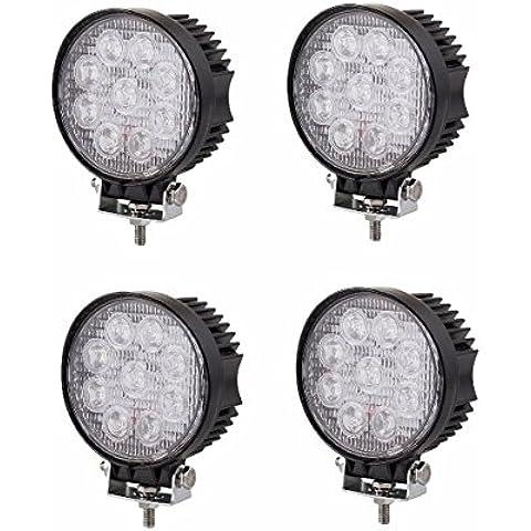 SAILUN 4 x 27W FARO DA LAVORO LUCE DI PROFONDITA' A LED Tondo Offroad Proiettore Riflettore Worklight 1600LM Pressofuso in alluminio nero IP67