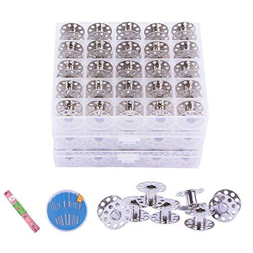 Benecreat 80 pezzi set bobine, macchina da cucire standard bobine/bobine in metallo (3 scatole, 25 pezzi/scatola), metro (2 pezzi), aghi da cucito in ferro con scatole (3 scatole)