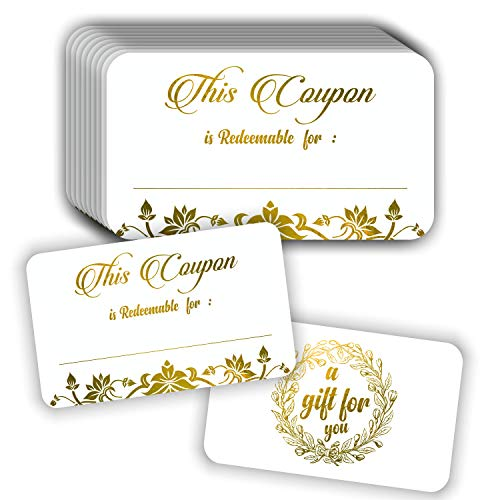 Tarjetas de cupón (paquete de 50) Premium Gold Foil Stamping 3.5'x2' en blanco regalo certificados canjear cupones para negocios